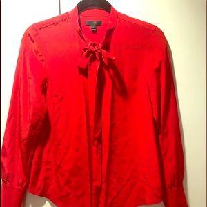 Jcrew 100% Silk red blouse